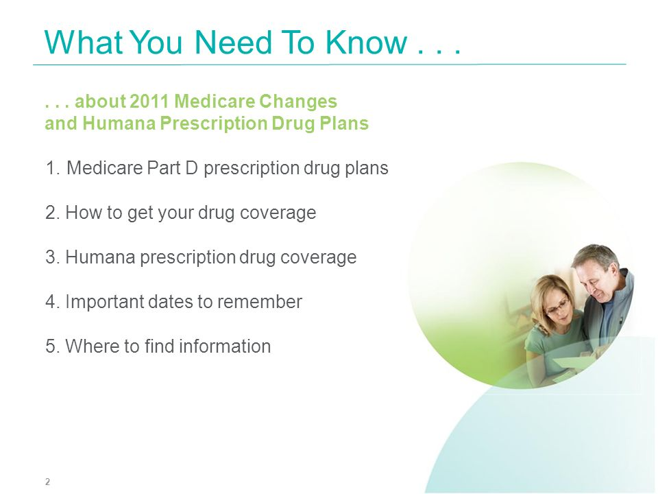 What You Need To Know . . . . . . about 2011 Medicare Changes and Humana Prescription Drug Plans.