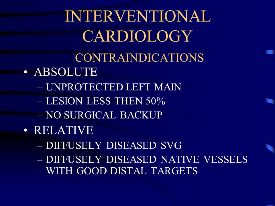 INTERVENTIONAL CARDIOLOGY CONTRAINDICATIONS