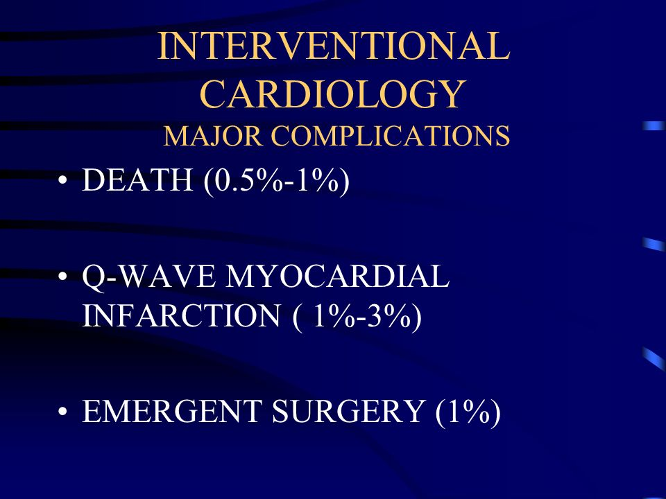 INTERVENTIONAL CARDIOLOGY MAJOR COMPLICATIONS
