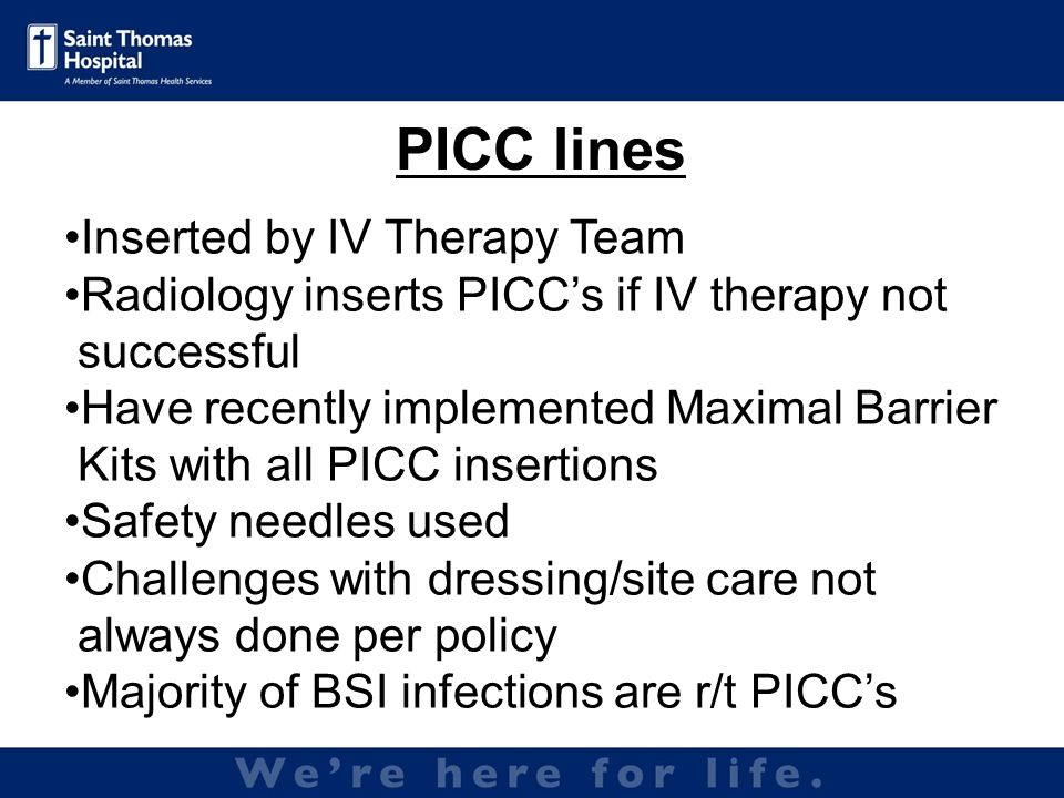 PICC lines Inserted by IV Therapy Team