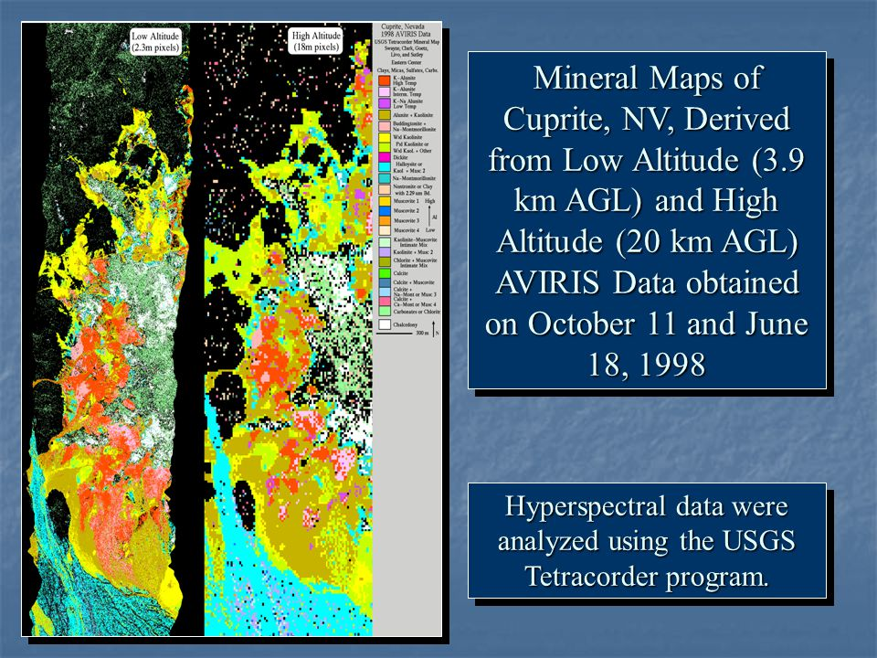 Hyperspectral data were analyzed using the USGS