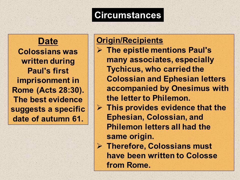 Circumstances Date Origin/Recipients