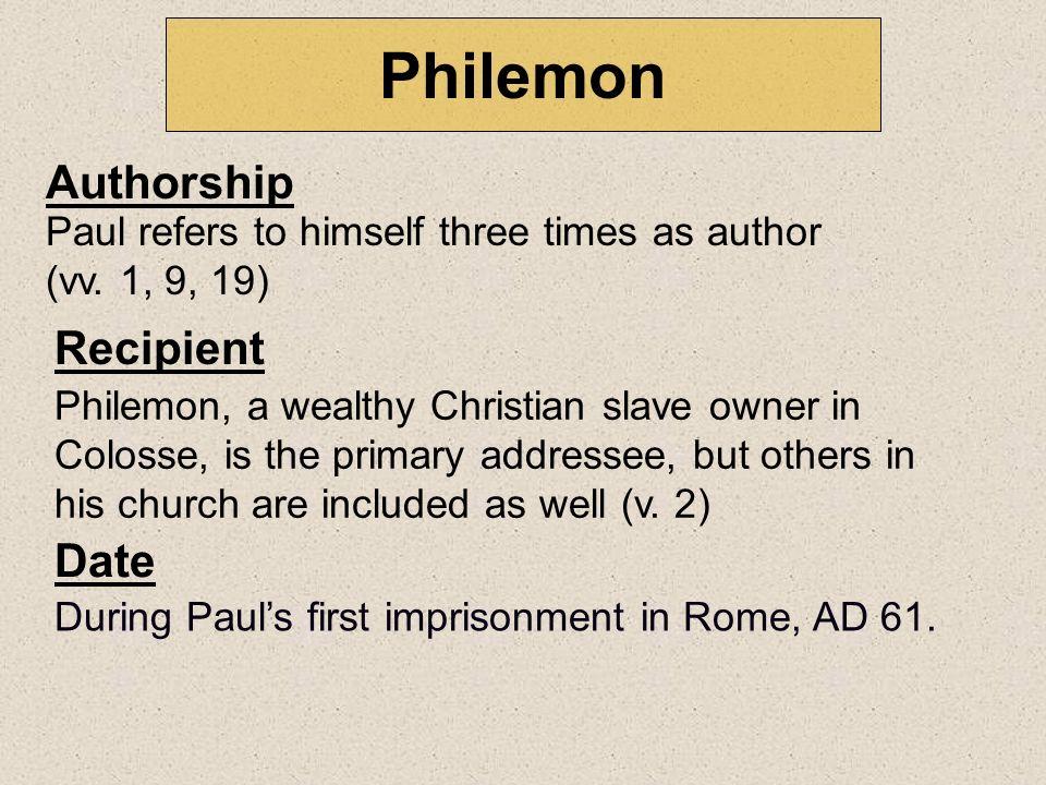 Philemon Authorship Recipient Date