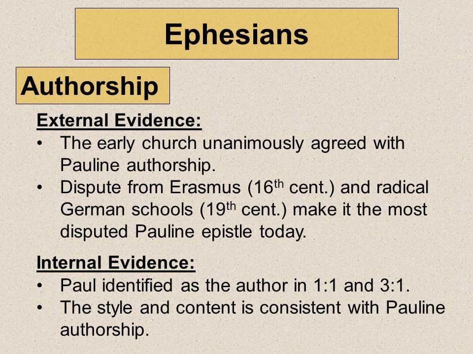 Ephesians Authorship External Evidence: