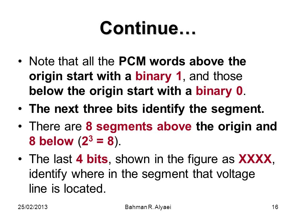 Continue… Note that all the PCM words above the origin start with a binary 1, and those below the origin start with a binary 0.
