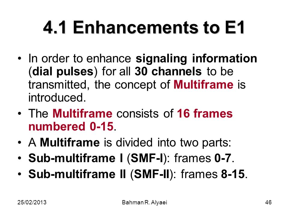 4.1 Enhancements to E1