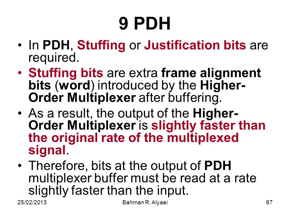 9 PDH In PDH, Stuffing or Justification bits are required.