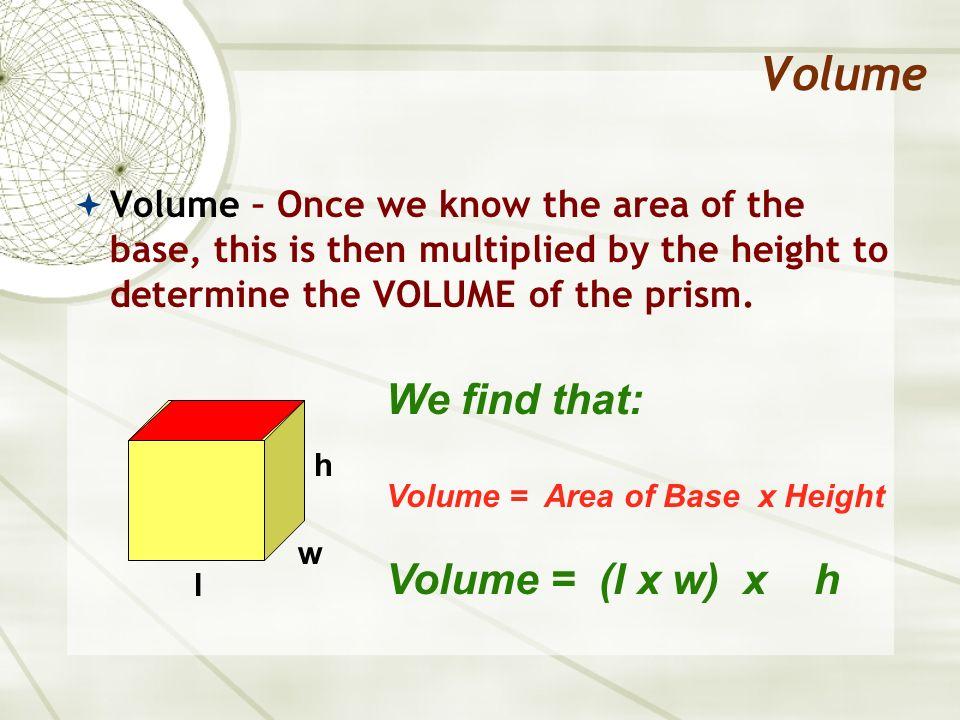Volume We find that: Volume = (l x w) x h