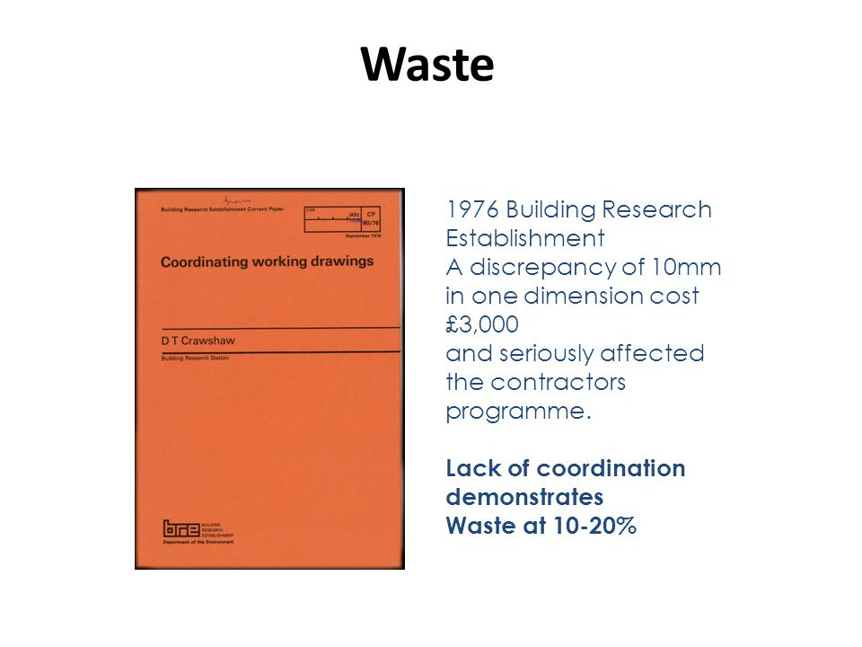 Waste 1976 Building Research Establishment A discrepancy of 10mm