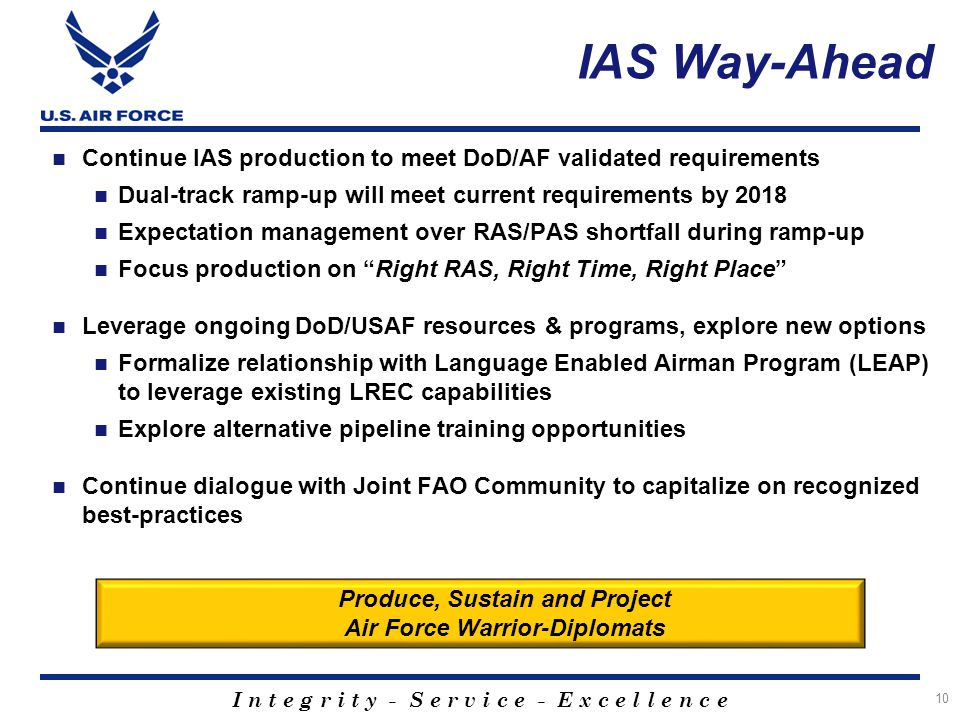 Produce, Sustain and Project Air Force Warrior-Diplomats