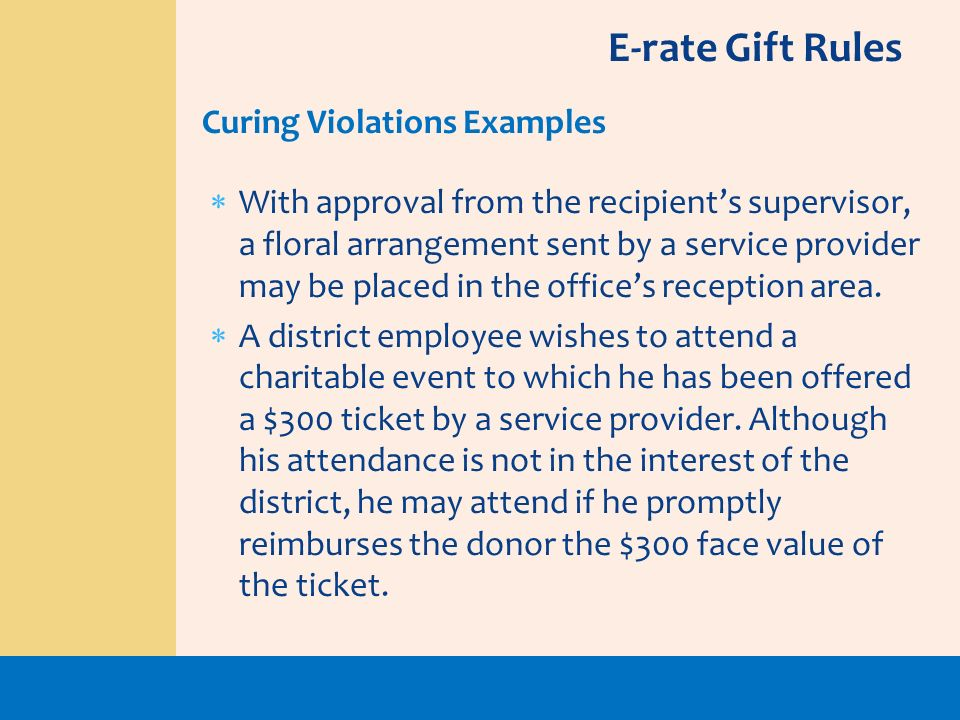 E-rate Gift Rules Curing Violations Examples