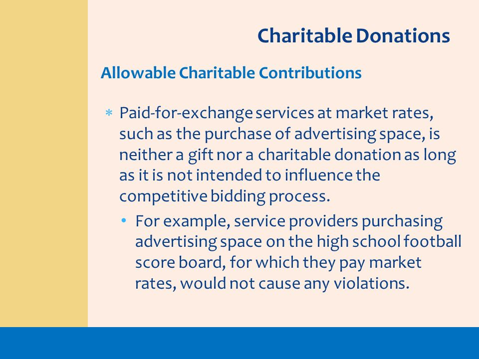 Charitable Donations Allowable Charitable Contributions