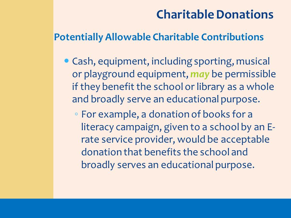 Charitable Donations Potentially Allowable Charitable Contributions