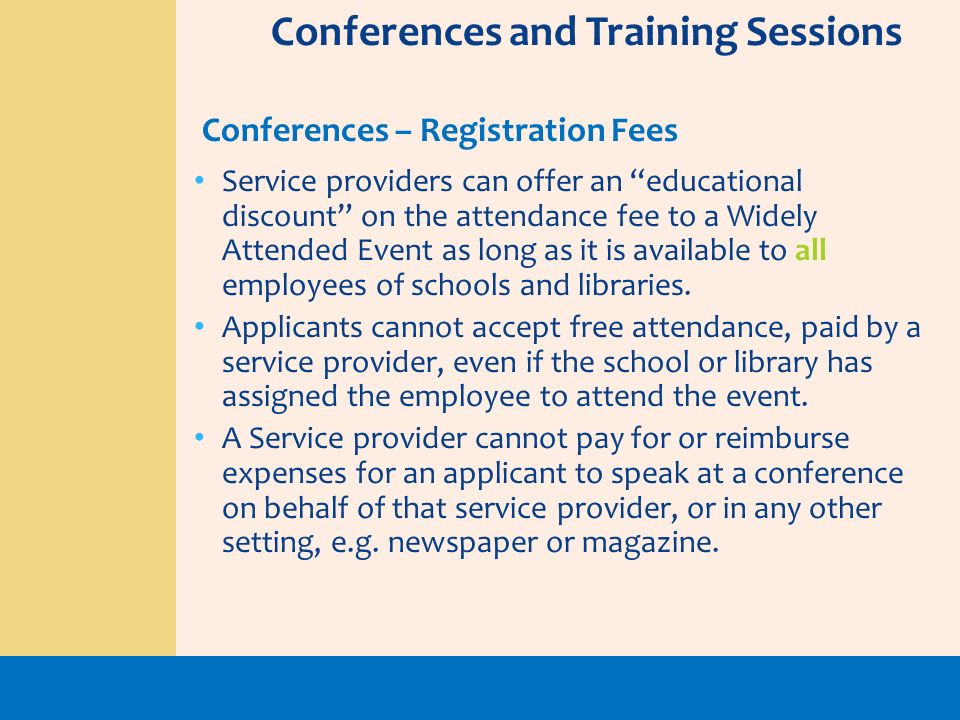 Conferences and Training Sessions
