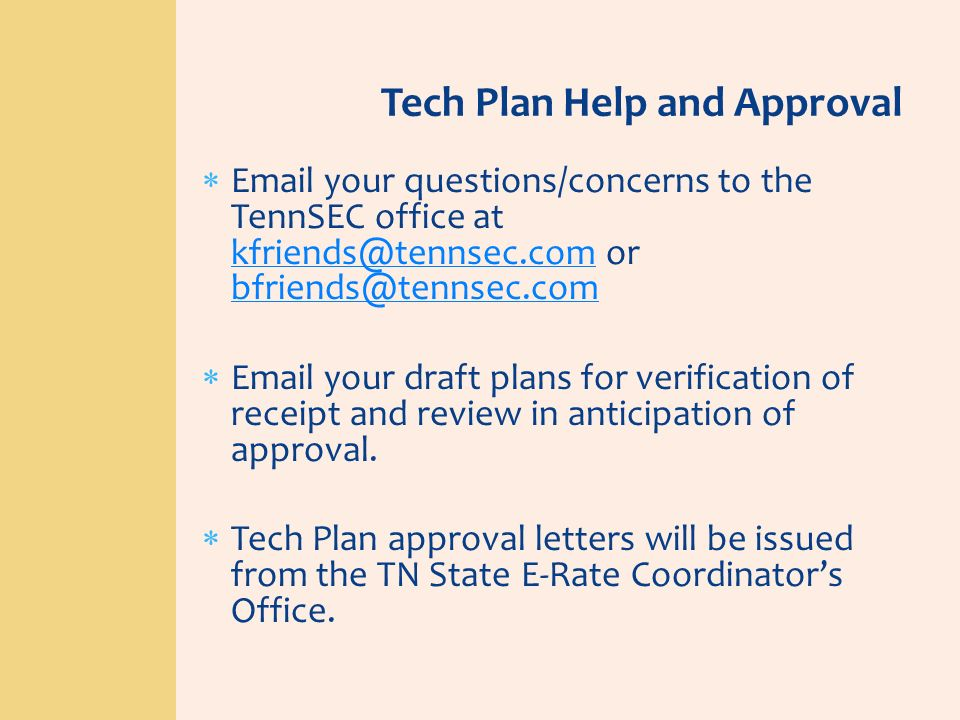 Tech Plan Help and Approval