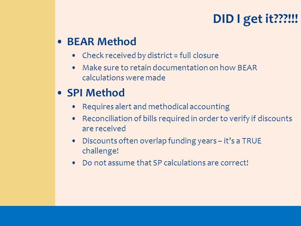 DID I get it !!! BEAR Method SPI Method