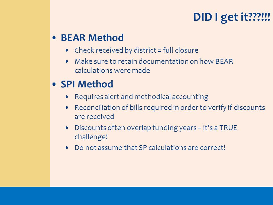DID I get it !!! BEAR Method SPI Method