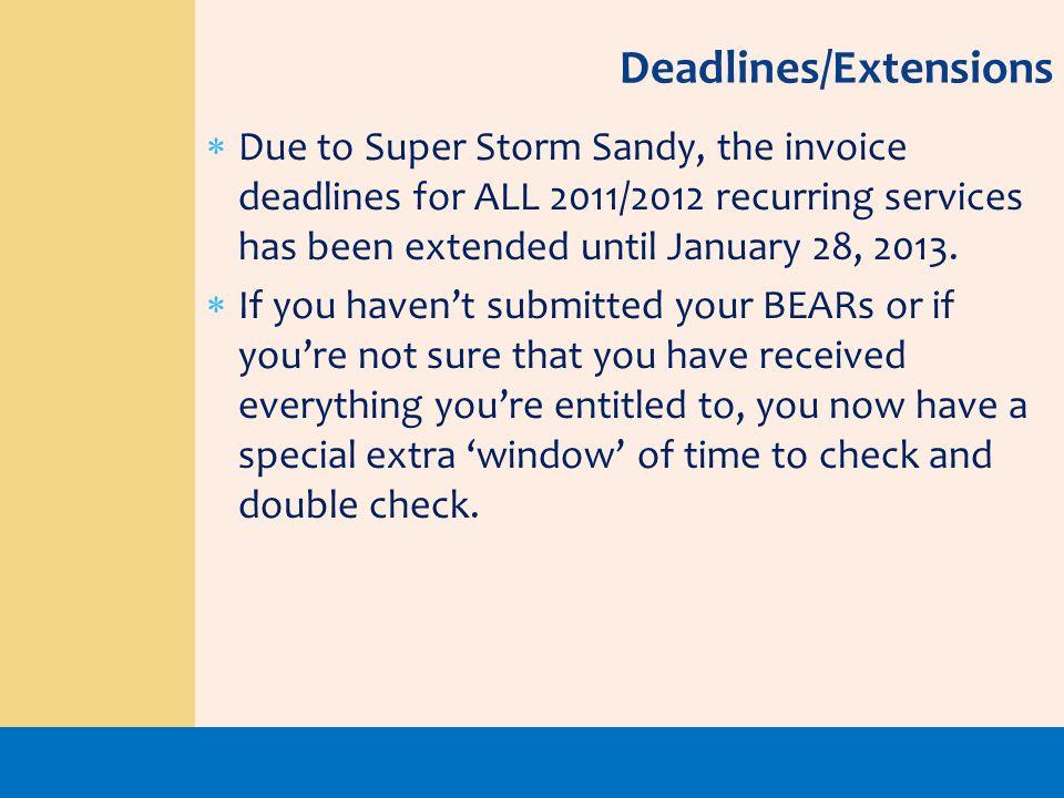 Deadlines/Extensions