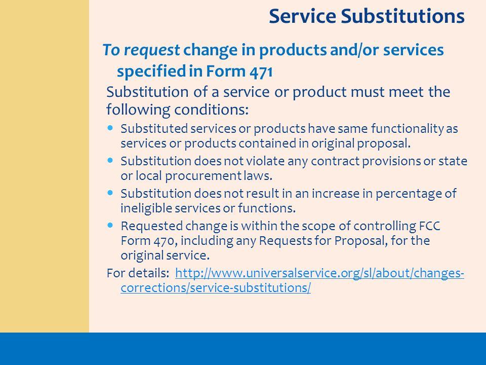 Service Substitutions