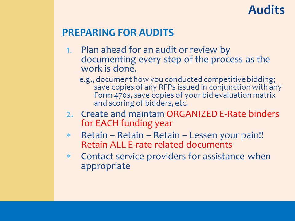 Audits PREPARING FOR AUDITS