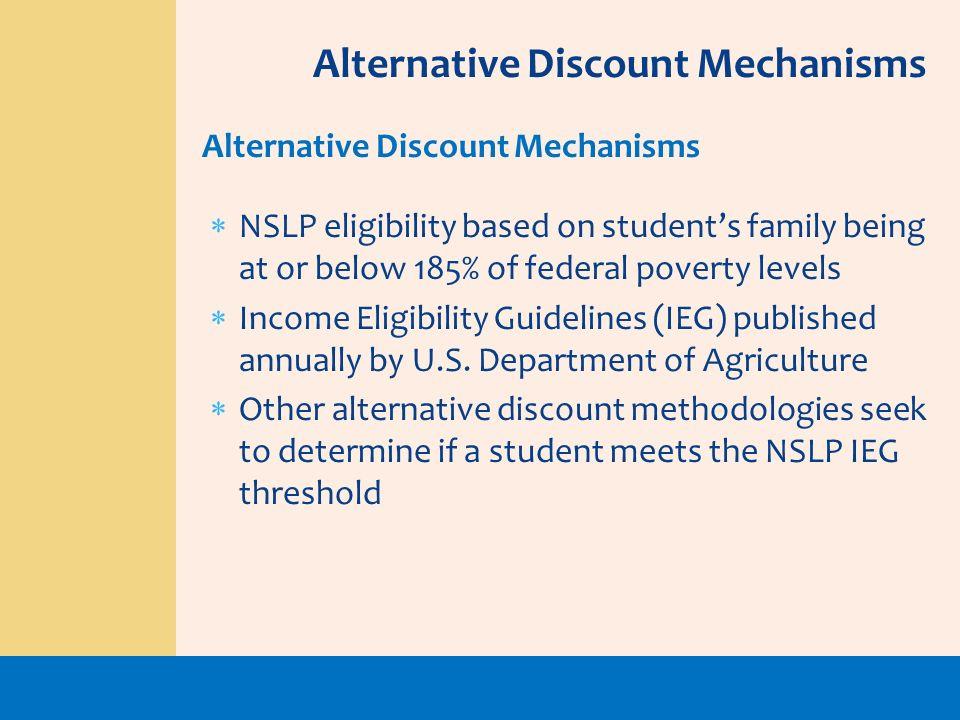 Alternative Discount Mechanisms