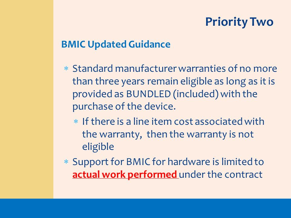 Priority Two BMIC Updated Guidance
