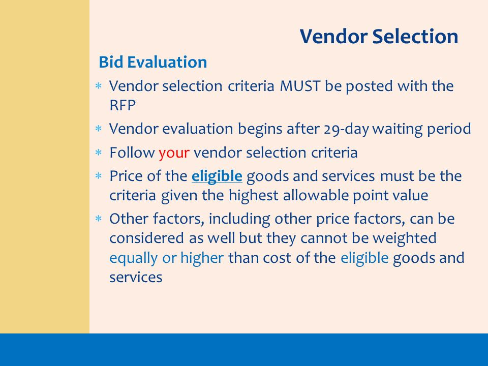 Vendor Selection Bid Evaluation