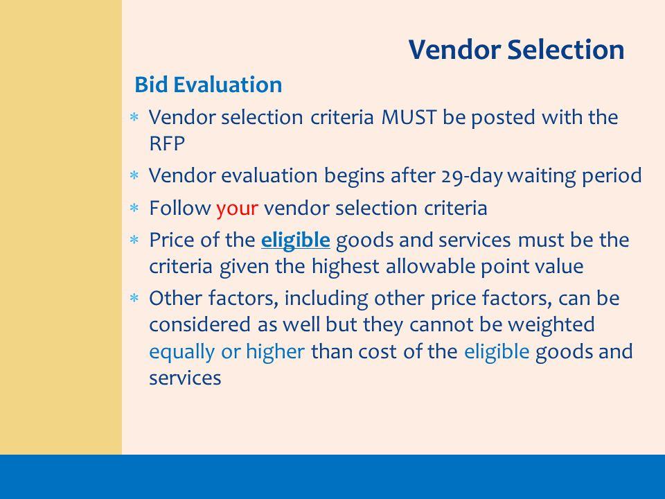 Vendor Selection Bid Evaluation