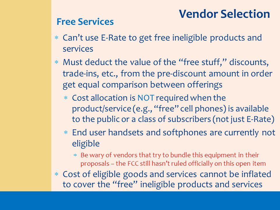 Vendor Selection Free Services