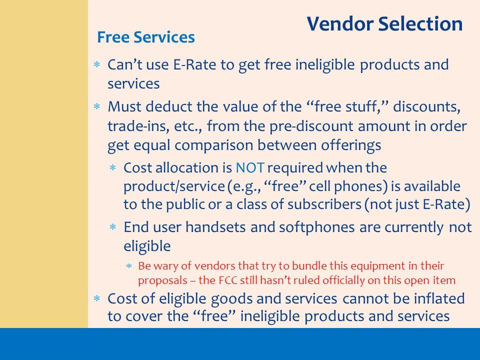 Vendor Selection Free Services