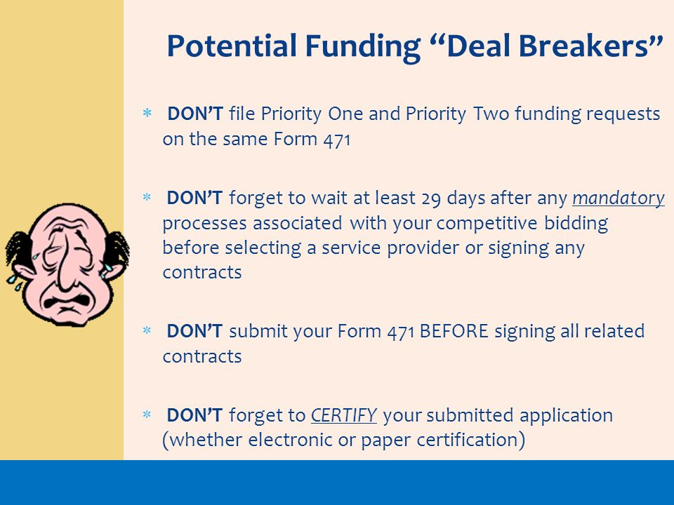 Potential Funding Deal Breakers