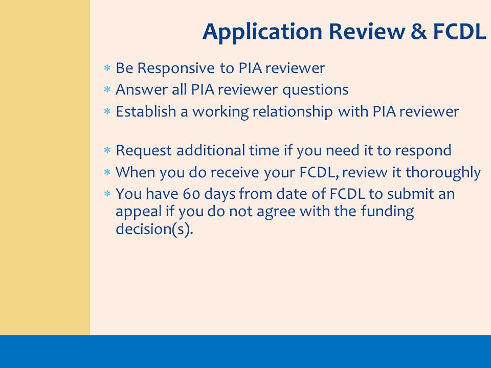 Application Review & FCDL