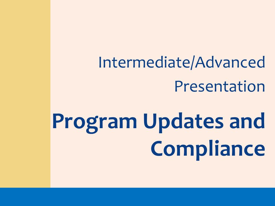 Program Updates and Compliance