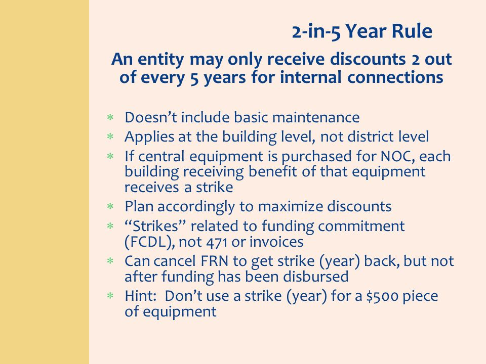 2-in-5 Year RuleAn entity may only receive discounts 2 out of every 5 years for internal connections.