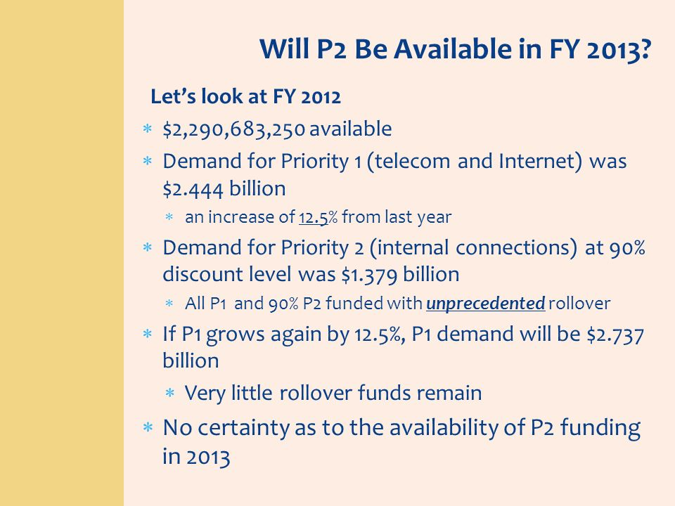 Will P2 Be Available in FY 2013