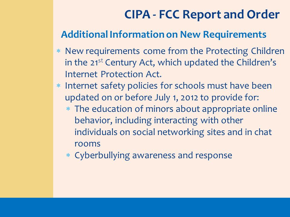 CIPA - FCC Report and Order