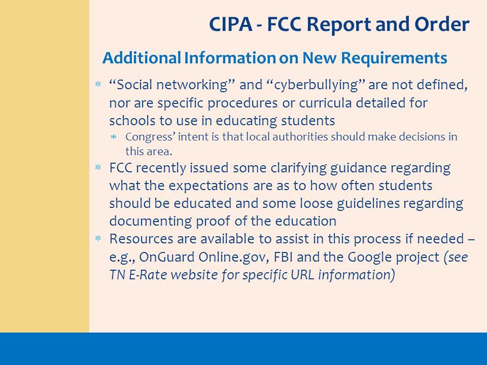 CIPA - FCC Report and Order