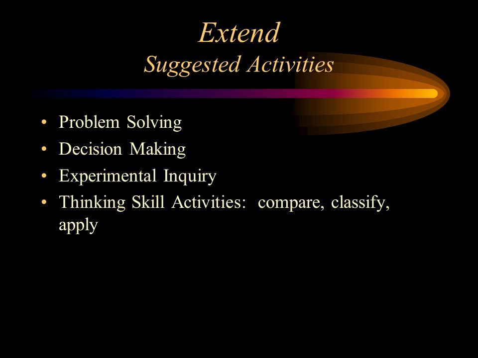 Extend Suggested Activities
