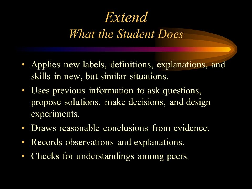 Extend What the Student Does