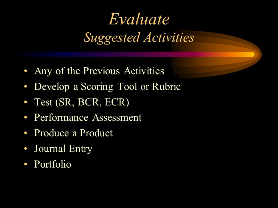 Evaluate Suggested Activities