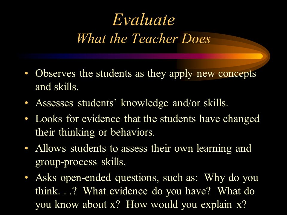 Evaluate What the Teacher Does