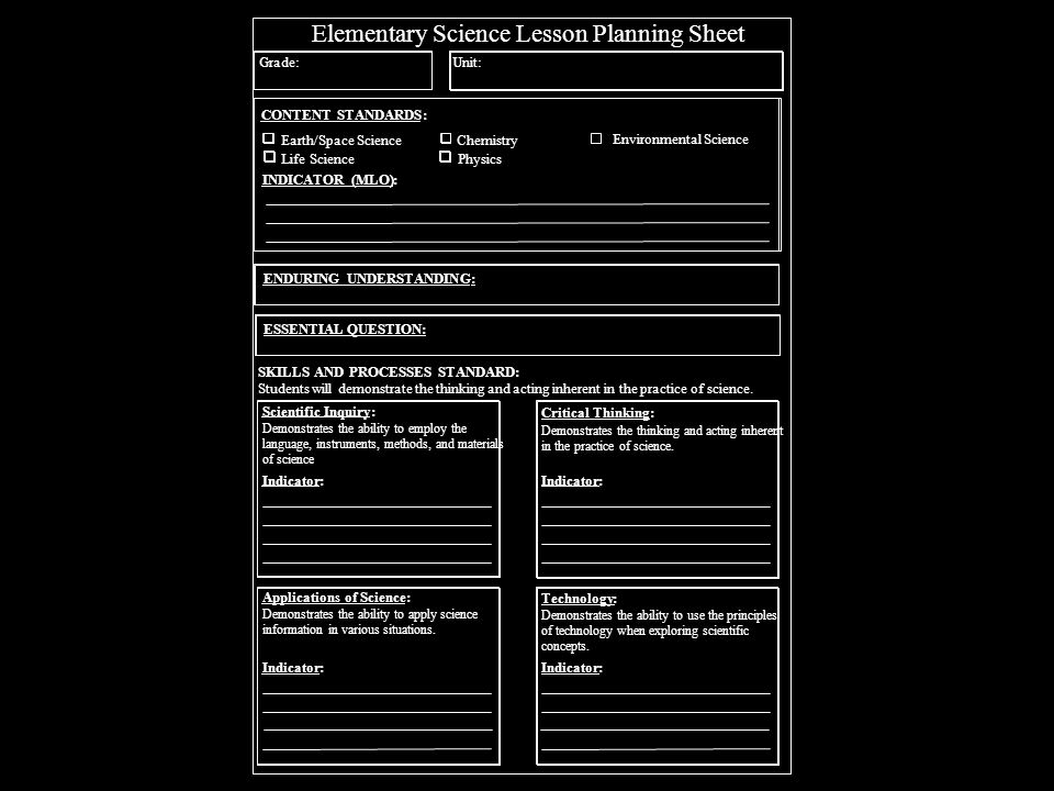 Science Lesson Planning Sheet