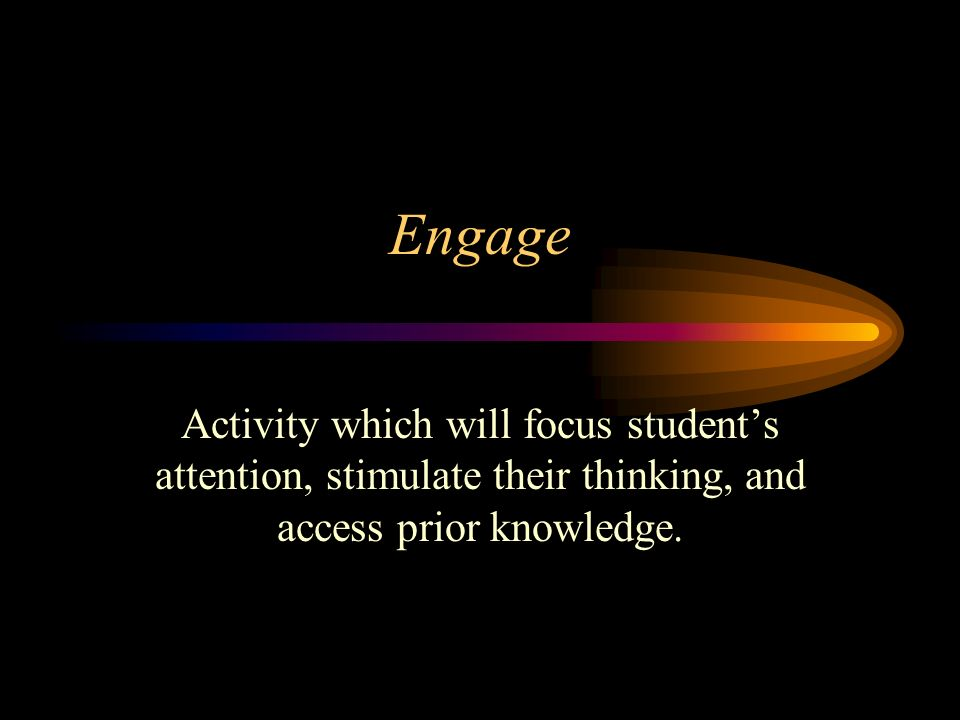 Engage Activity which will focus student's attention, stimulate their thinking, and access prior knowledge.