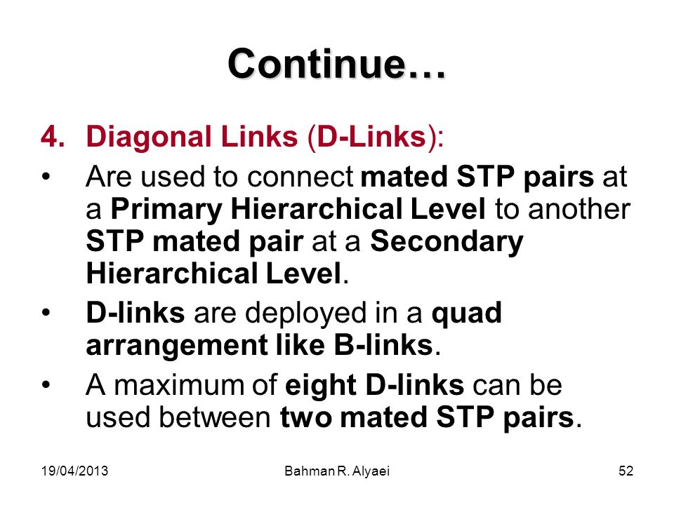 Continue… Diagonal Links (D-Links):