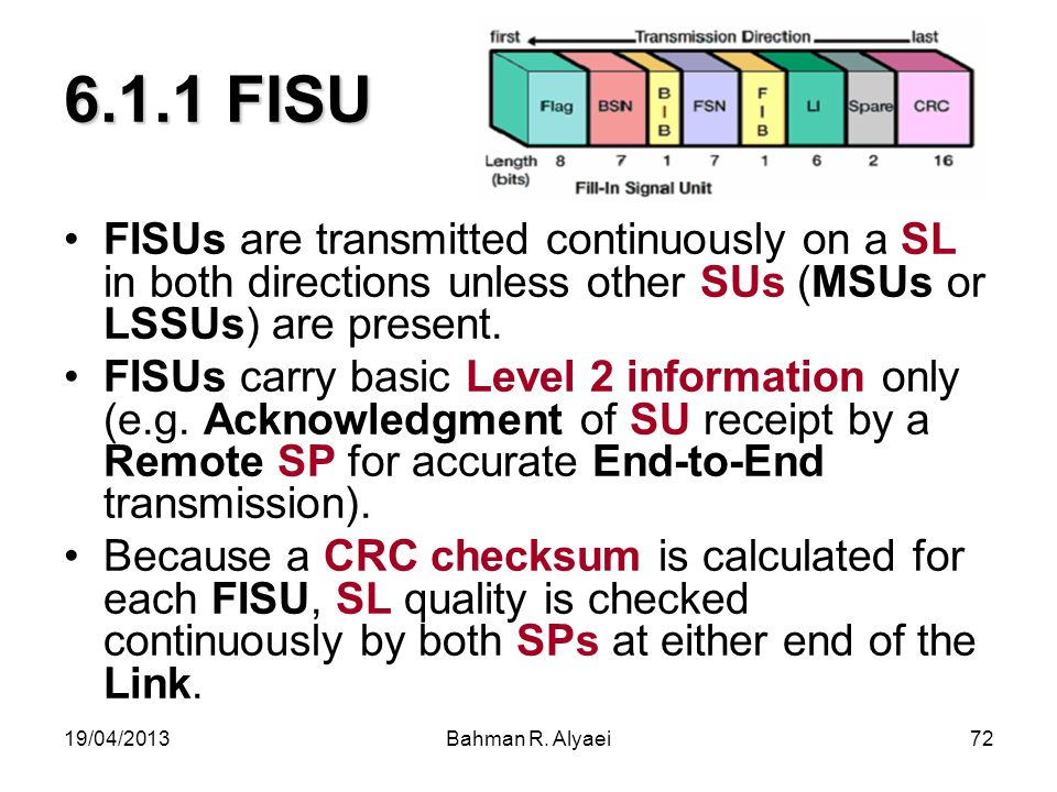 6.1.1 FISU FISUs are transmitted continuously on a SL in both directions unless other SUs (MSUs or LSSUs) are present.