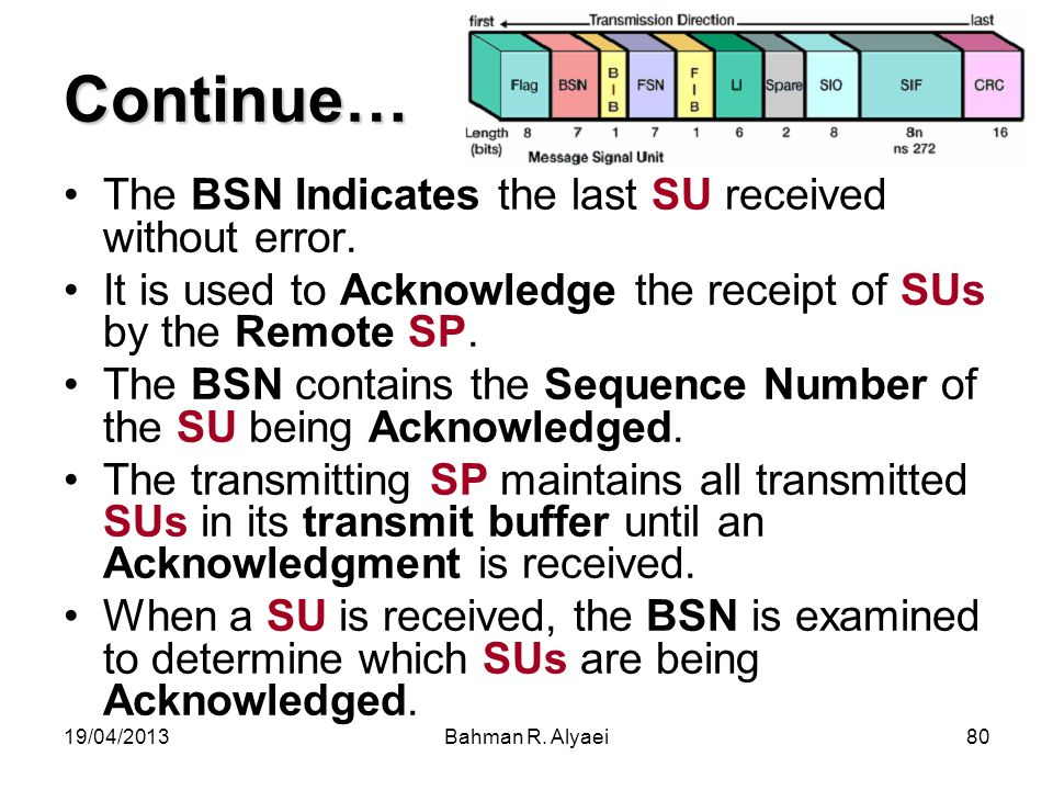 Continue… The BSN Indicates the last SU received without error.