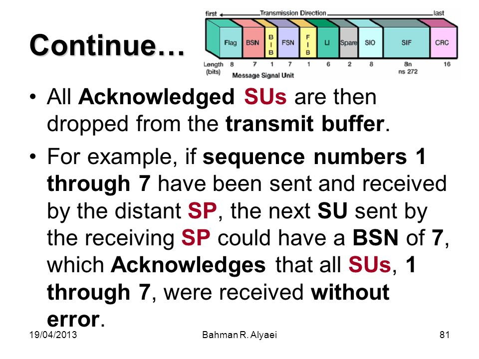 Continue… All Acknowledged SUs are then dropped from the transmit buffer.