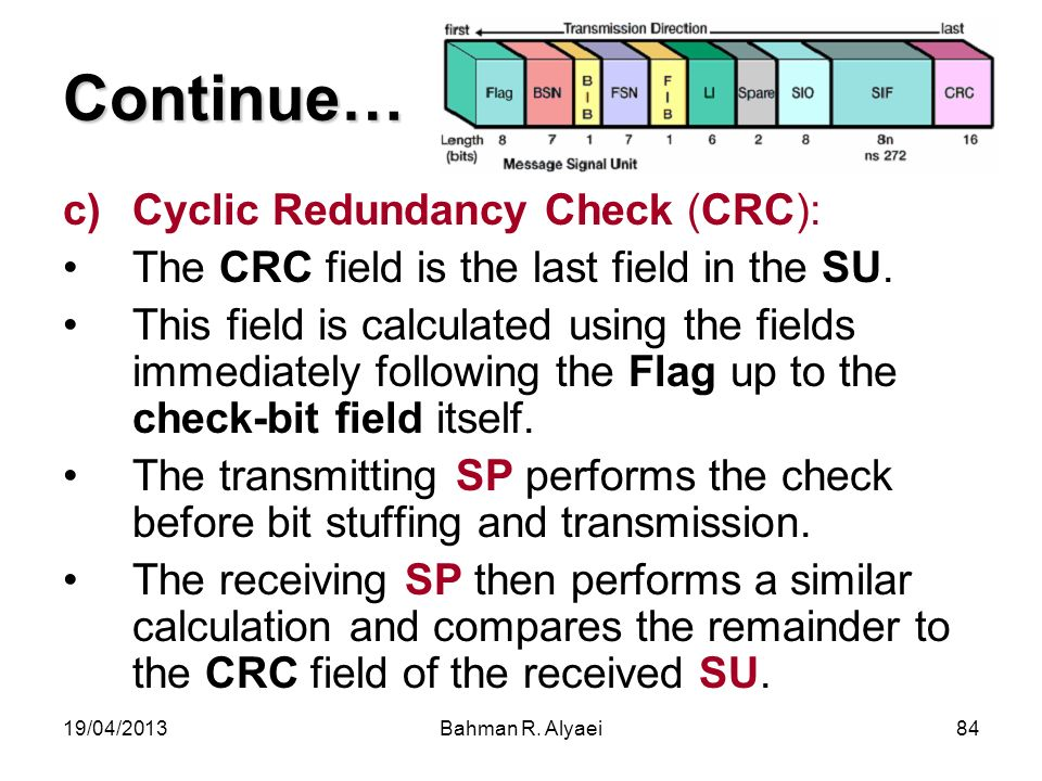 Continue… Cyclic Redundancy Check (CRC):
