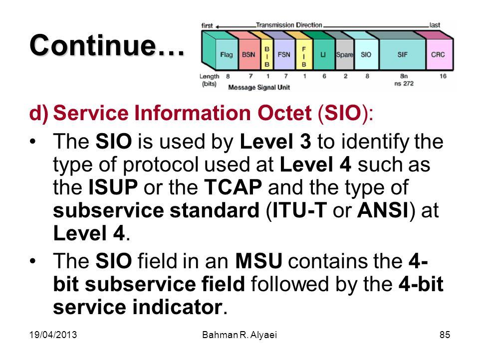 Continue… Service Information Octet (SIO):