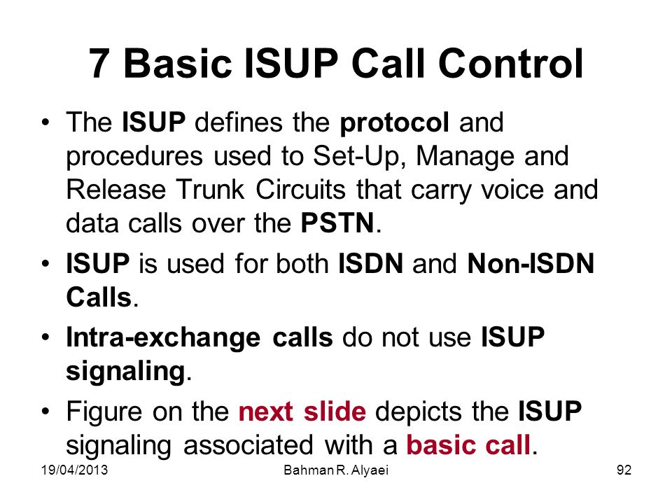 7 Basic ISUP Call Control